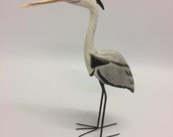 Painted heron wood carving