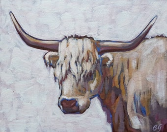 Original Acrylic Painting of Highland Cow on 8x10 inch Canvas Panel