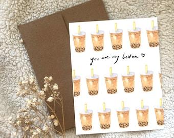 Bubble Tea Boba Watercolour Greeting Card Blank Inside