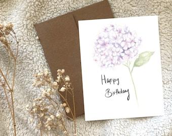 Lavender Hydrangea Flower Happy Birthday Greeting Card Blank, Watercolour Hand Illustrated