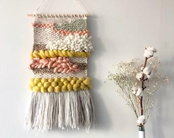 Desert Skies // woven wall hanging / wall art tapestry / handwoven / texture / yellow / pink / beige
