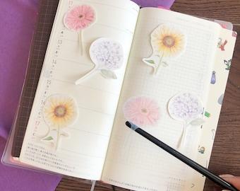 Flower Sticker Pack - Transparent/Clear - 3 pcs - Hydrangea, Sunflower, Gerbera Daisy