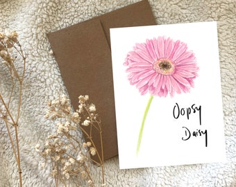 Pink Gerbera Daisy Oopsy Daisy Belated Birthday Sorry Apology Greeting Card Blank, Watercolour Hand Illustrated