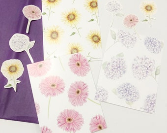 Florals Watercolour Illustration Postcard Set - 3pcs Hydrangea Sunflower Gerbera Daisy