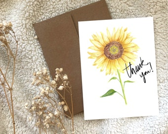Sunflower Thank You Greeting Card Blank, Watercolour Hand Illustrated