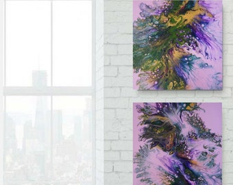 Acrylic paint pouring Fluid art Original Set of 2 abstract paintings | Diptych | Wall Art