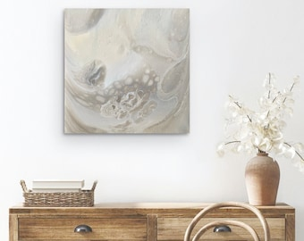 Fluid Art Original abstract cream white painting | Wall art | Acrylic paint pouring
