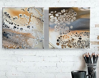 Fluid art Set of 2 Original abstract paintings | Diptych | Wall Art | Acrylic paint pouring
