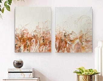 Fluid Art Set of 2 Original abstract cream white copper paintings | Diptych | Wall Art | Acrylic paint pouring
