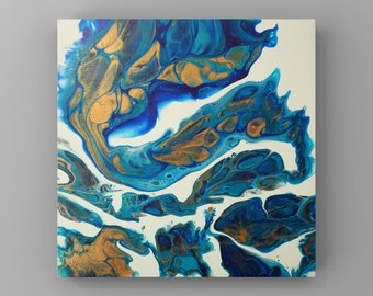 Acrylic paint pouring Fluid art Original abstract painting | Wall art