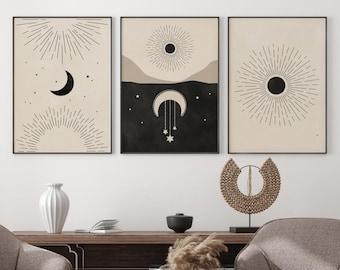 Celestial Prints Set of 3, Sun Moon Stars Printable Wall Art, Neutral Boho Gallery Wall Mid Century Modern Art Witchy Decor Digital Download