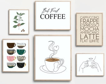 Coffee Stain Print Coffee Print Set Coffee Lover Printable Set of 3 Prints Coffee Wall Art Coffee Selection Wall Art Kitchen Wall Art