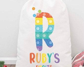 Personalised fidget bag, kids fidget bag, personalised kids bag, popit bag, fidget toy bag, personalised drawstring bag, fidget gift