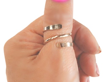 Triple Ring Full Finger Knuckle Ring Statement Ring Minimalist Ring Sterling Silver Coil Ring Bypass Thumb Ring Adjustable Wrap Ring