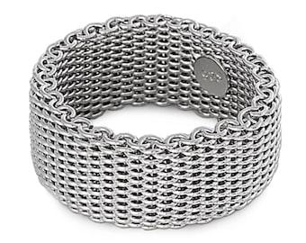 MINIMALIST MESH Ring Unisex Modernist  Women/'s Mens Simple Stainless Steel Gift
