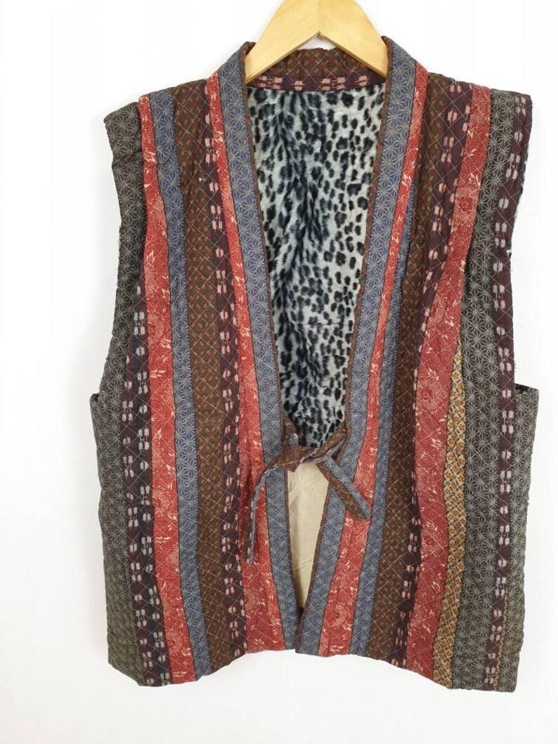 Japanese Vest Tribe Motif Patchwork Sashiko Boro Vintage Vest Tactical Streetwear Japan Fashion
