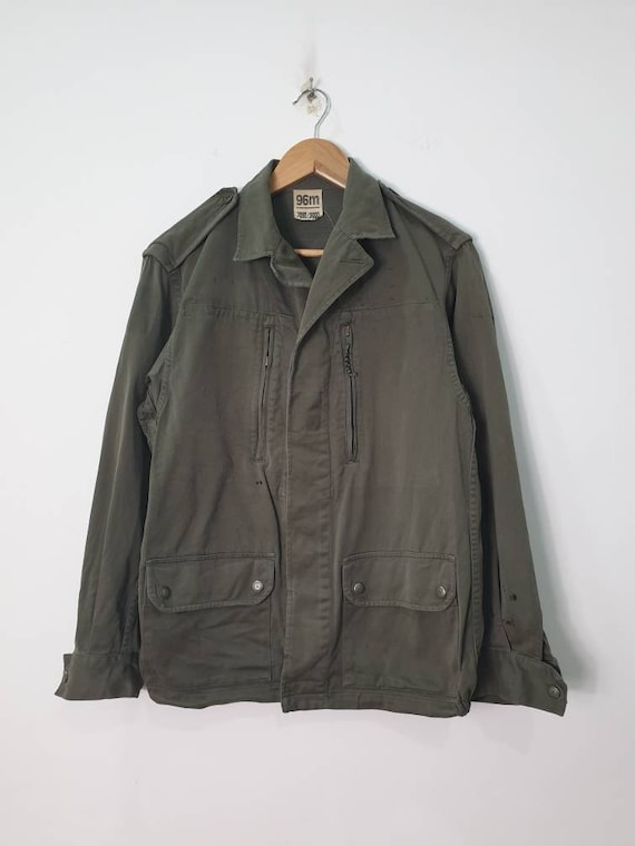 Vintage 80s Socovet French Army Field Jacket Butto