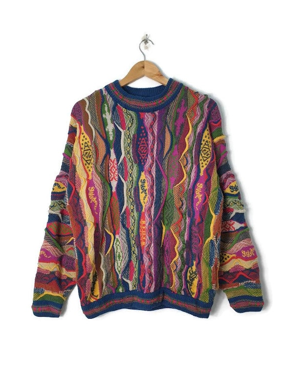 Vintage Coogi Style Sweater Knit Multicolored Laye