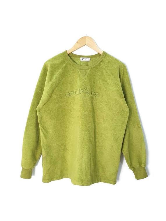 Courreges Paris fleece Sweatshirt Green Spellout J