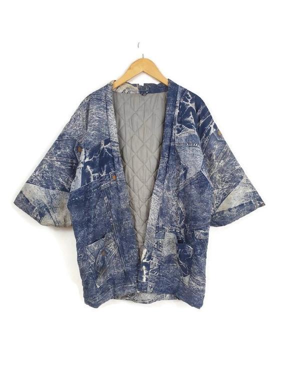Girls Blue Japanese Hanten Padded Jacket Vintage Kids Boho Kimono Jacket