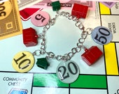 Monopoly Game Bracelet, Vintage Monopoly Game Pieces Jewelry - Game Bracelet, A132.