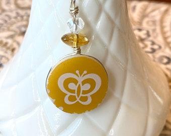 Pyrex Butterfly Gold Necklace, Vintage Pyrex Necklace, Handmade Pendant, Vintage Pyrex Jewelry. A215