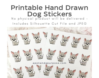 Printable Hand Drawn Stickers, Cute Dog Stickers, Planner Stickers, Deco Puppy Stickers, Silhouette Cut File, JPG, SVG Printable Stickers