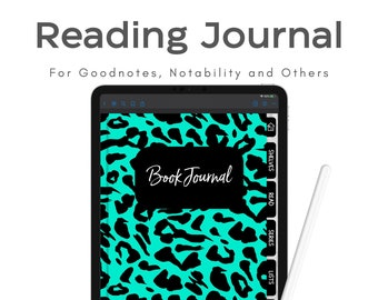 Book Tracker, Digital Reading Journal, Digital Planner Book Journal, Goodnotes Reading Journal, Digital Book Tracker in Teal with Black Tabs