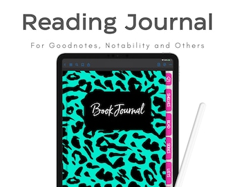 Book Tracker, Digital Reading Journal, Digital Planner Book Journal, Goodnotes Reading Journal, Digital Book Tracker in Teal with Pink Tabs