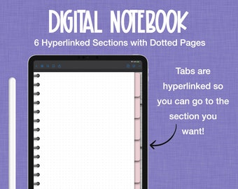 Digital Notebook, Pink Digital Notebook Cover, Goodnotes Notebook, 6 Subject Notebook, Floral Dividers, Digital Planner, Student Notebook