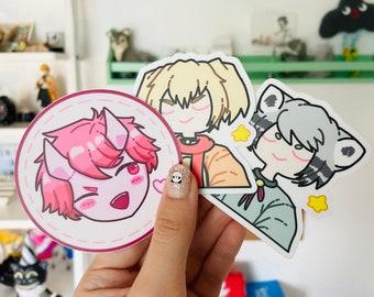 3 sticker set vinyl kawaii cat boy Doggo love demon cute circle die cut stickers