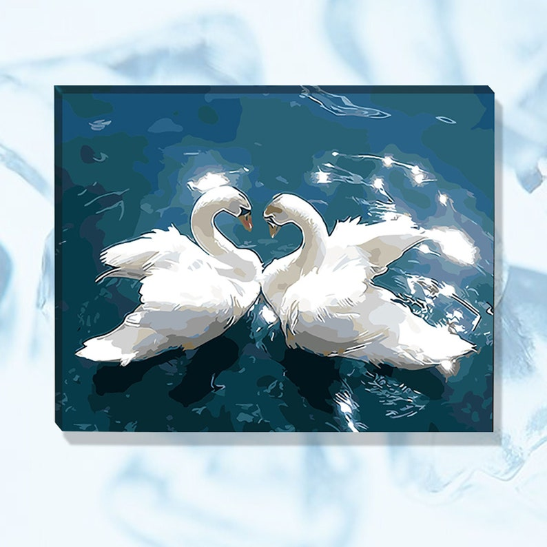 Hand Painted Decorative Painting Swan Couple Paint by Number Kit Paint by Number Without Frame Wedding Gifts. Acrylic Paint Home Decor