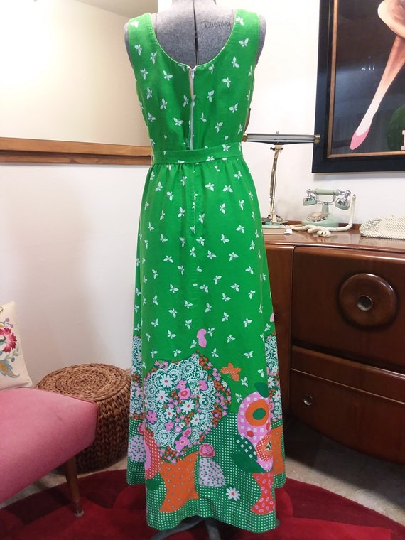 1960s Malia Honolulu Spring Green Maxi Dress - image 6