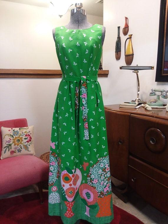 1960s Malia Honolulu Spring Green Maxi Dress