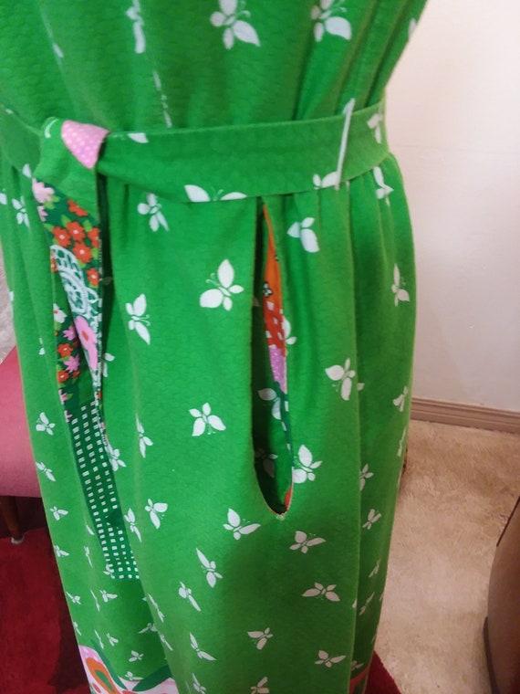 1960s Malia Honolulu Spring Green Maxi Dress - image 4