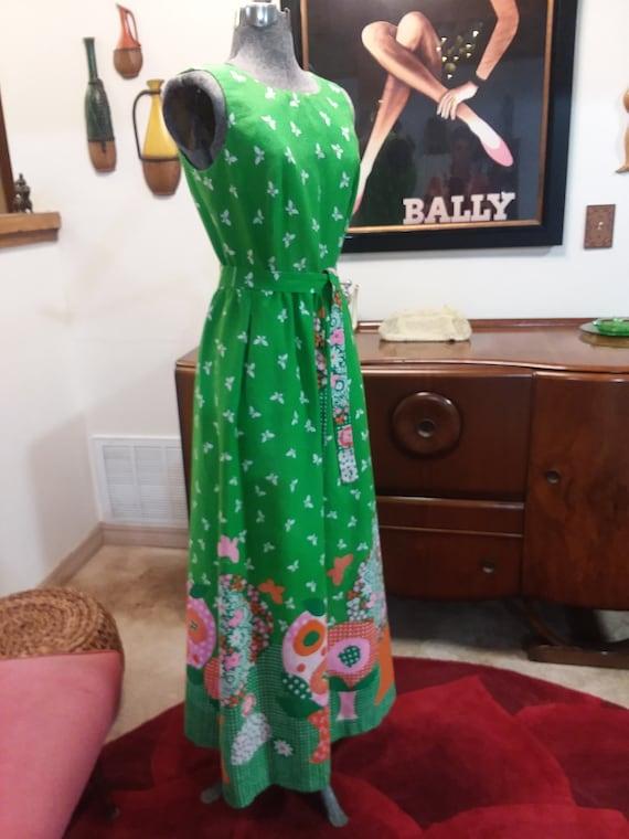 1960s Malia Honolulu Spring Green Maxi Dress - image 3