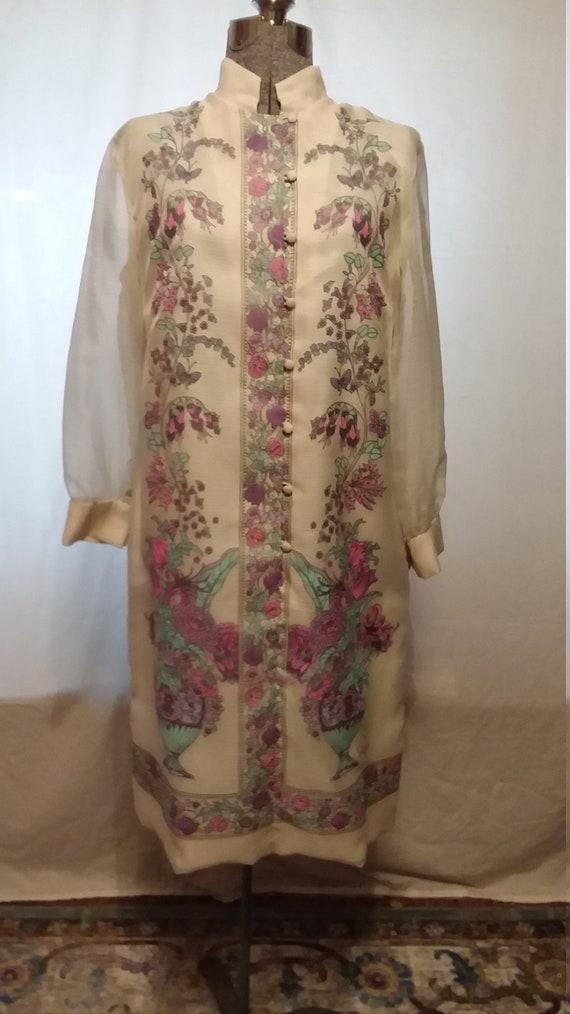 Vintage 1970s Alfred Shaheen Silkscreen Dress