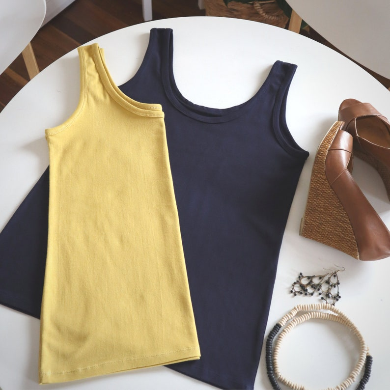 Ladies knit stretch singlet style tank pattern template  image 0