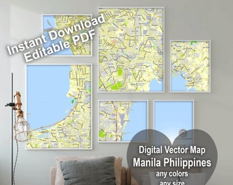City maps of  Manila, Philippines. Personalized map print. Map wall art. Custom map drawing. Map prints. Travel map. Living with art p-d-f.