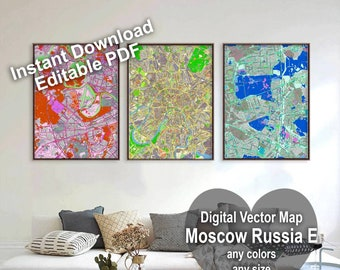 Moscow, Russia. Wall Decor. Colored Map Print. Wall Art. Large Custom Map. City Map Poster. Printable City Map. Detailed Map. Variable Scale