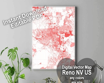 City maps Reno NV. United States map. Personalized map print. Map wall art. Custom map drawing. Map prints. Travel map. Living with art pdf.