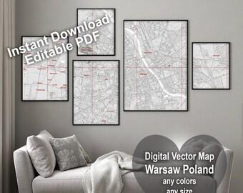 Map Warsaw Poland. Wall decor. Large wall art. Custom map prints. Gift for him. Printable wall art. Black & white print. Where we met map.