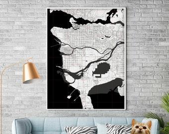 Map Vancouver Canada. Wall decor. Large wall art. Custom map prints. Printable wall art. City maps. Black & white print. Where we met map.