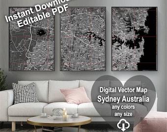 Map Sydney Australia. Wall decor. Large wall art. Custom map prints. Gift for him. Printable wall art. City maps. Black & white print.