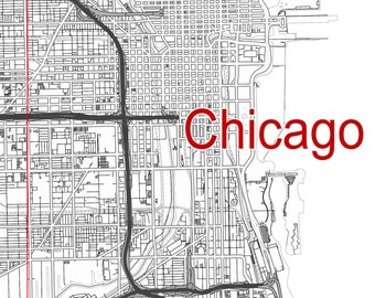 Map of Chicago Illinois. Wall decor. Large wall art. Custom map prints. Printable wall art. United States map. City map. Black & white print