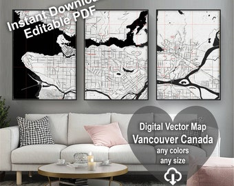 Map of Vancouver Canada. Wall decor. Large wall art. Custom map prints. Gift for him. Printable wall art. City maps. Black & white print.