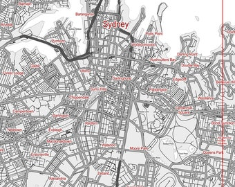 Map of Sydney Australia. Wall decor. Large wall art. Custom map prints. Gift for him. Printable wall art. City maps. Black & white print.