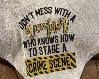 Crime Scene blanket | Crime tv show blanket throw living room decor | funny saying | cute saying