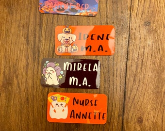 Customized/Personalized name tags / Halloween