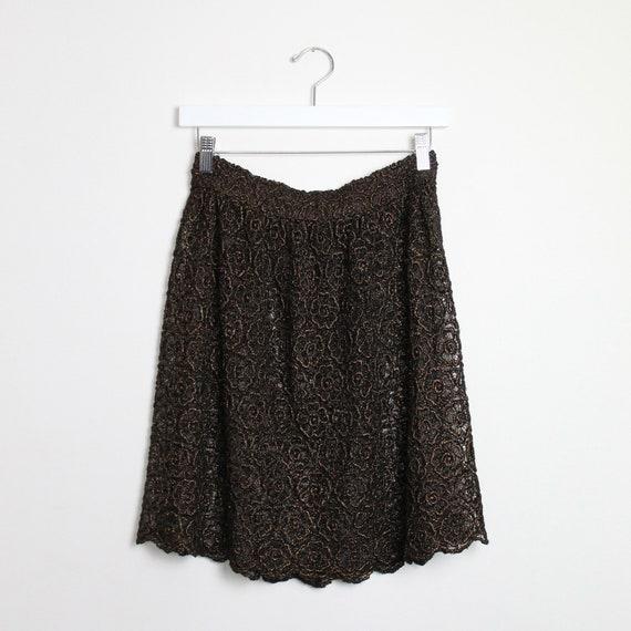 Vintage Metallic Lace Mini Skirt